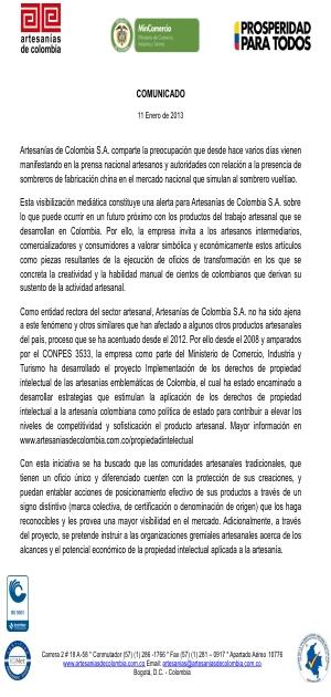 Comunicado - Artesanías de Colombia 1e1e6f00485